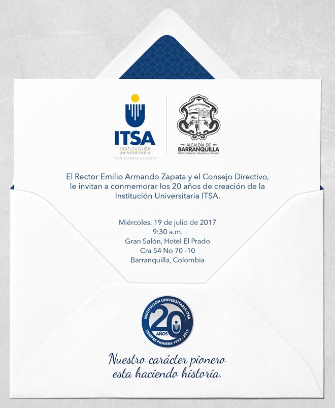 Invitación Evento De Conmemoración 20 Años Itsa Redttu