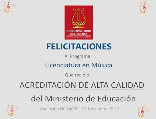 EL CONSERVATORIO DEL TOLIMA ACREDITA SU PRIMER PROGRAMA DE ALTA CALIDAD Y RECIBE CERTIFICACIÓN DEL ICONTEC