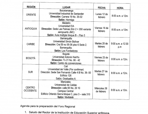 REUNIONES REGIONALES DE PREPARACIÓN DEL FORO SOBRE FINANCIAMIENTO PARA LA SOSTENIBILIDAD DE LA EDUCACIÓN SUPERIOR