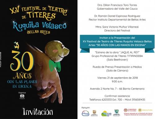 XV FESTIVAL DE TEATRO DE TÍTERES BELLAS ARTES RUQUITA VELASCO