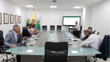 Rectores del ITM, el POLI, IUE, Débora Arango, UNIPAZ, UNIAJC y Bellas Artes Caliy TDEA, en las instalaciones del TDEA discutiendo el documento con las solicitudes de las 11 ITTU que no reciben recursos de la nación