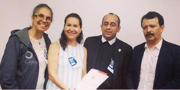 Rector de ETITC, Hno. José Gregorio Contreras y representantes de UTN Ibarra