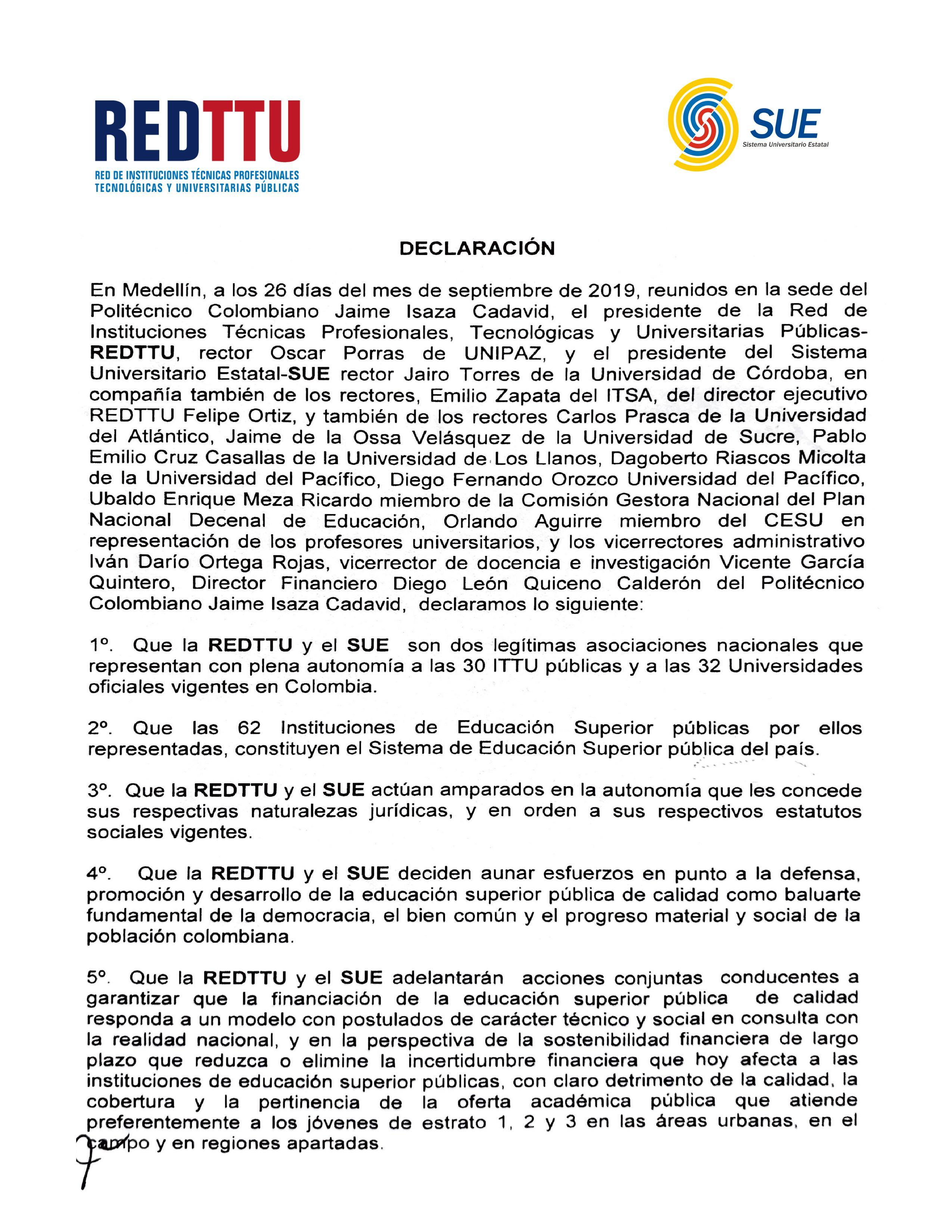 Declaración de la REDTTU y SUE hoy en Medellín.