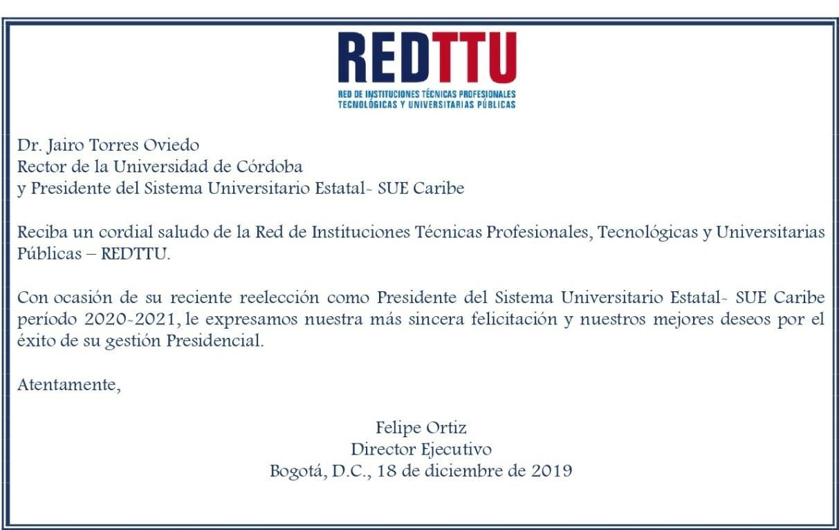 REDTTU FELICITA AL PRESIDENTE DEL SUE CARIBE POR SU REELECCIÓN
